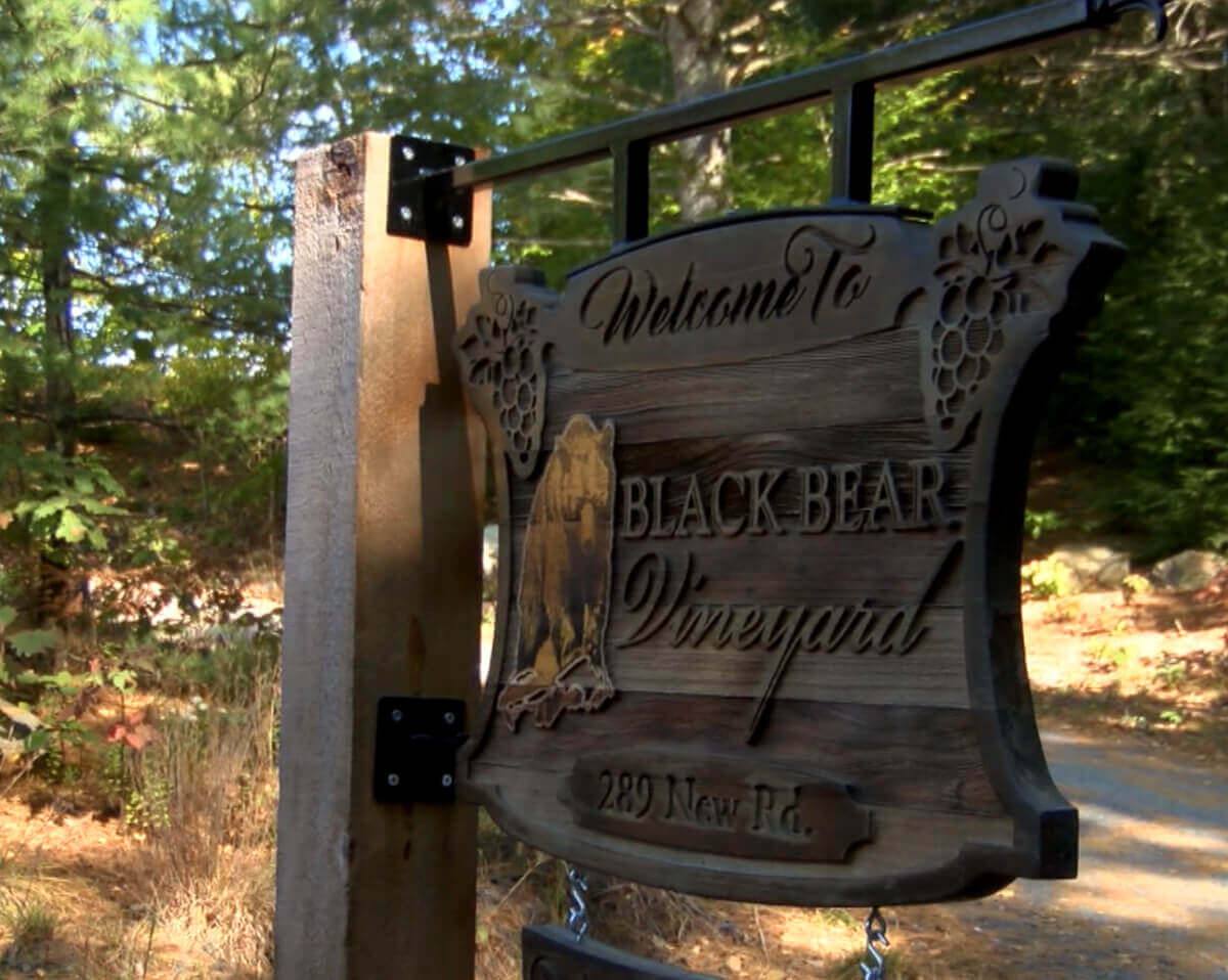 Black Bear Vineyard in New Hampshire Wood Carved Entrance Sign