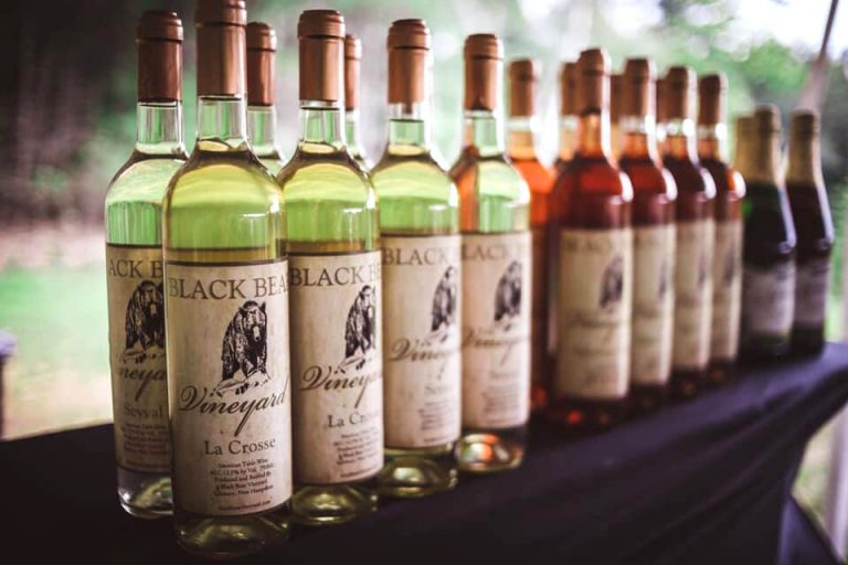 Black Bear Vineyard Estate Wine Selection Lineup on Table