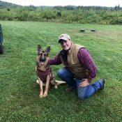 NIck with dog at Black Bear Vineyard